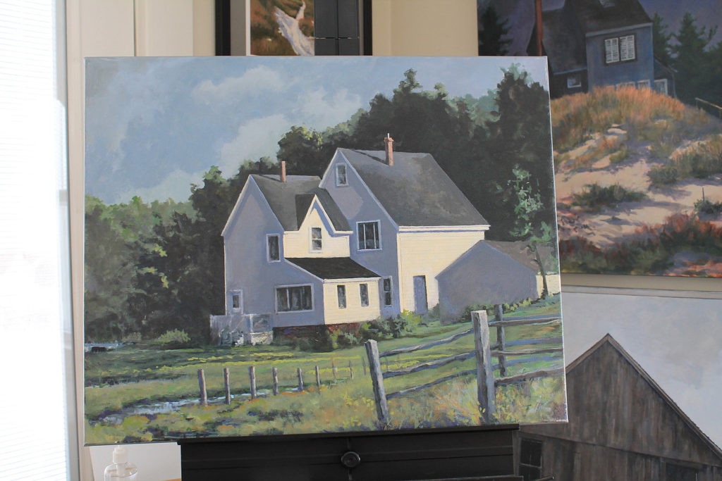 Photo of painting of a house on canvas